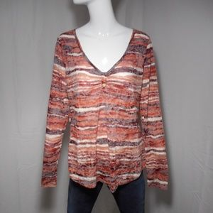 ~Maurices~ Burgundy/Peach/Cream Lacey Thin Blouse
